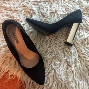 Gold heel black pumps
